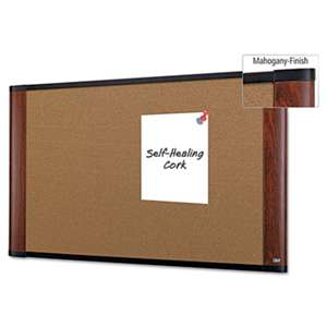 3M/COMMERCIAL TAPE DIV. Cork Bulletin Board, 48 x 36, Aluminum Frame w/Mahogany Wood Grained Finish