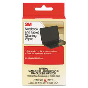 3M/COMMERCIAL TAPE DIV. Notebook Screen Cleaning Wet Wipes, Cloth, 7 x 4, White, 24/Pack