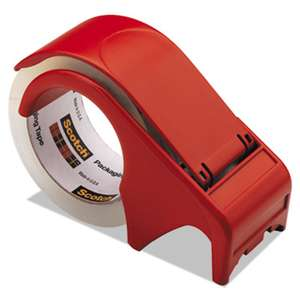 "Scotch DP300RD Compact and Quick Loading Dispenser for Box Sealing Tape, 3"" Core, Plastic, Red"