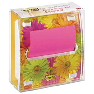 3M/COMMERCIAL TAPE DIV. Pop-up Note Dispenser with Designer Daisy Insert, One 45-Sheet Pad, Black/Clear