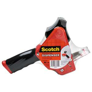 "Scotch ST181 Pistol Grip Packaging Tape Dispenser, 3"" Core, Metal, Red"