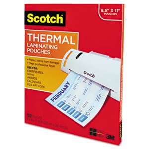 3M/COMMERCIAL TAPE DIV. Letter Size Thermal Laminating Pouches, 3 mil, 11 1/2 x 9, 100 per Pack