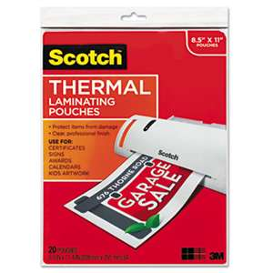 3M/COMMERCIAL TAPE DIV. Letter Size Thermal Laminating Pouches, 3 mil, 11 1/2 x 9, 20/Pack
