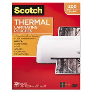 3M/COMMERCIAL TAPE DIV. Letter Size Thermal Laminating Pouches, 3 mil, 11 2/5 x 8 9/10, 200 per Pack