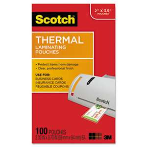 3M/COMMERCIAL TAPE DIV. Business Card Size Thermal Laminating Pouches, 5 mil, 3 3/4 x 2 3/8, 100/Pack