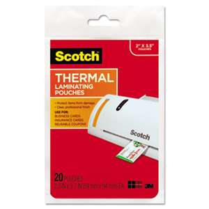 3M/COMMERCIAL TAPE DIV. Business Card Size Thermal Laminating Pouches, 5 mil, 3 3/4 x 2 3/8, 20/Pack