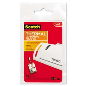 3M/COMMERCIAL TAPE DIV. ID Badge Size Thermal Laminating Pouches, 5 mil, 4 1/4 x 2 1/5, 10/Pack