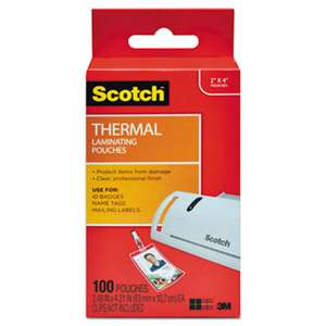 3M/COMMERCIAL TAPE DIV. ID Badge Size Thermal Laminating Pouches, 5 mil, 4 1/4 x 2 1/5, 100/Pack