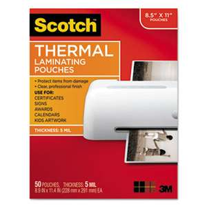 3M/COMMERCIAL TAPE DIV. Letter Size Thermal Laminating Pouches, 5 mil, 11 1/2 x 9, 50/Pack