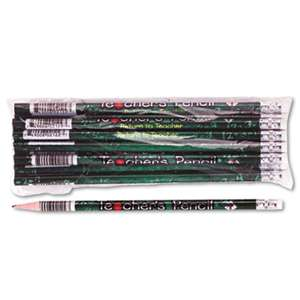 MOON PRODUCTS Decorated Wood Pencil, Teacher's Pencil, HB #2, Black Brl, Dozen