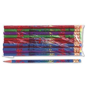 MOON PRODUCTS Decorated Wood Pencil, Happy Birthday, #2, BLK/BE/GN/PE/RD, Dozen