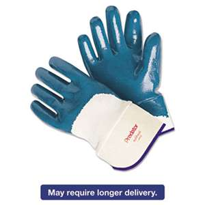 MCR SAFETY Predator Nitrile Gloves, Blue/White, Large, 12 Pairs