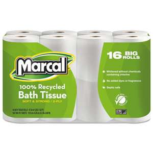 MARCAL MANUFACTURING, LLC 100% Recycled Two-Ply Bath Tissue, White, 16 Rolls/Pack