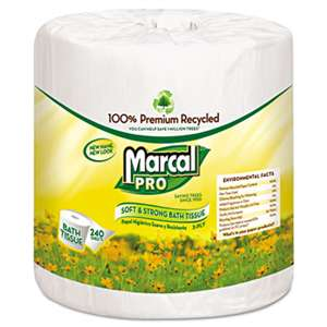 MARCAL MANUFACTURING, LLC 100% Recycled Bathroom Tissue, White, 240 Sheets/Roll, 48 Rolls/Carton