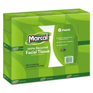 Marcal 4034CT 100% Recycled Convenience Pack Facial Tissue, White, 80/Box, 6 Boxes/Pack