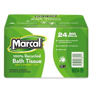 MARCAL MANUFACTURING, LLC 100% Recycled  Bundle Two-Ply Bath Tissue Roll, White, 168 Sheets, 24/Carton