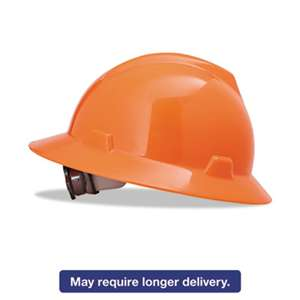 SAFETY WORKS V-Gard Full-Brim Hard Hats, Ratchet Suspension, Size 6 1/2 - 8, High-Viz Orange