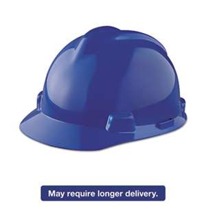SAFETY WORKS V-Gard Hard Hats, Staz-On Pin-Lock Suspension, Size 6 1/2 - 8, Blue