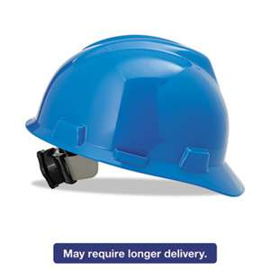 SAFETY WORKS V-Gard Hard Hats, Ratchet Suspension, Size 6 1/2 - 8, Blue