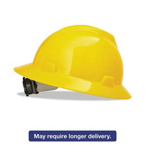 SAFETY WORKS V-Gard Full-Brim Hard Hats, Ratchet Suspension, Size 6 1/2 - 8, Yellow