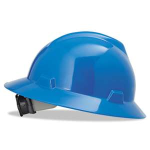 SAFETY WORKS V-Gard Full-Brim Hard Hats, Ratchet Suspension, Size 6 1/2 - 8, Blue