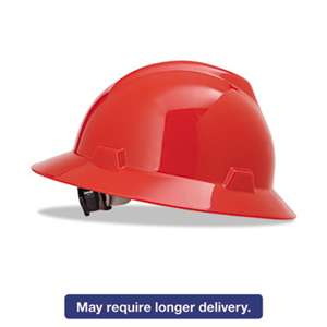 SAFETY WORKS V-Gard Full-Brim Hard Hats, Ratchet Suspension, Size 6 1/2 - 8, Red