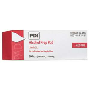 SANI PROFESSIONAL PDI Alcohol Prep Pads, White, 200/Box