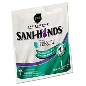 Sani Professional D33333 Sani-Hands Sanitizing Wipes with Tencel, White, 5 x 7 3/4, 3000 Packets/Carton