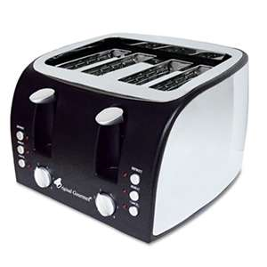 ORIGINAL GOURMET FOOD COMPANY 4-Slice Multi-Function Toaster with Adjustable Slot Width, Black/Stainless Steel
