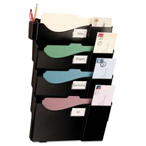 OFFICEMATE INTERNATIONAL CORP. Grande Central Wall Filing System, Four Pockets, 16 5/8 x 4 3/4 x 23 1/4, Black