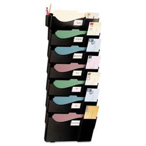 OFFICEMATE INTERNATIONAL CORP. Grande Central Wall Filing System, Seven Pockets, 16 5/8 x 4 3/4 x 38 1/4, Black