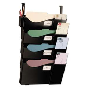 OFFICEMATE INTERNATIONAL CORP. Grande Central Cubicle Filing System, Four Pockets, 16 5/8 x 5 x 27 1/2, Black