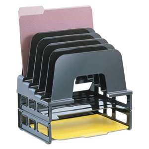 OFFICEMATE INTERNATIONAL CORP. Incline Sorter, 2 Trays, 5-Compartments, Plastic, 9.12w x 13.5d x 14h, Black