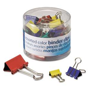 OFFICEMATE INTERNATIONAL CORP. Binder Clips, Metal, Assorted Colors/Sizes, 30/Pack