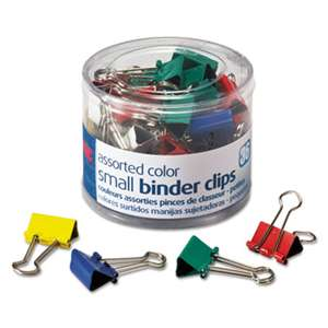 "OFFICEMATE INTERNATIONAL CORP. Binder Clips, Metal, 3/4"", Assorted Colors, 36/Pack"