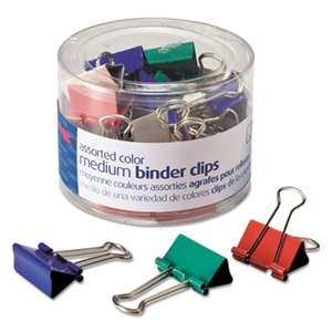 OFFICEMATE INTERNATIONAL CORP. Binder Clips, Metal, Assorted Colors, Medium, 24/Pack