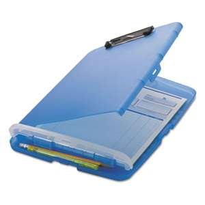 "OFFICEMATE INTERNATIONAL CORP. Low Profile Storage Clipboard, 1/2"" Capacity, Holds 8 1/2 x 11, Translucent Blue"