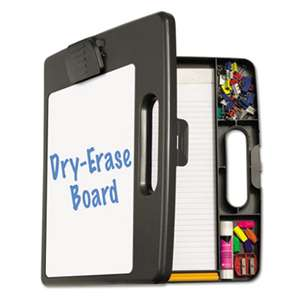 "OFFICEMATE INTERNATIONAL CORP. Portable Dry Erase Clipboard Case, 4 Compartments, 1/2"" Capacity, Charcoal"