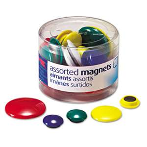 OFFICEMATE INTERNATIONAL CORP. Assorted Magnets, Circles, Assorted Sizes & Colors, 30/Tub