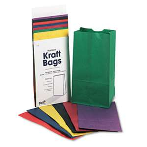 PACON CORPORATION Rainbow Bags, 6# Uncoated Kraft Paper, 6 x 3 5/8 x 11, Assorted Bright, 28/Pack