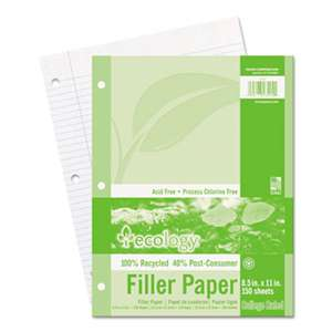 PACON CORPORATION Ecology Filler Paper, 8-1/2 x 11, College Ruled, 3-Hole Punch, WE, 150 Sheets/PK