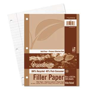 PACON CORPORATION Ecology Filler Paper, 8 x 10-1/2, Wide Ruled, 3-Hole Punch, White, 150 Sheets/PK