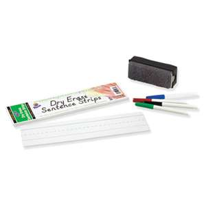PACON CORPORATION Dry Erase Sentence Strips, 12 x 3, White, 30 per Pack
