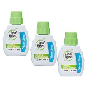 SANFORD Fast Dry Correction Fluid, 22 ml Bottle, White, 3/Pack