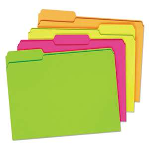ESSELTE PENDAFLEX CORP. Glow File Folders, 1/3 Cut Top Tab, Letter, Assorted Colors, 24/Box