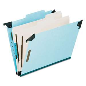ESSELTE PENDAFLEX CORP. Pressboard Hanging Classi-Folder, 2 Divider/6-Sections, Legal, 2/5 Tab, Blue
