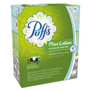PROCTER & GAMBLE Plus Lotion Facial Tissue, White, 2-Ply, 116/Box, 3 Boxes/Pack, 8 Packs/Carton