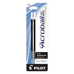 PILOT CORP. OF AMERICA Refill for Acroball Pens, Black, Fine, 2/Pk
