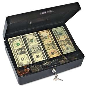PM COMPANY Select Spacious Size Cash Box, 9-Compartment Tray, 2 Keys, Black w/Silver Handle