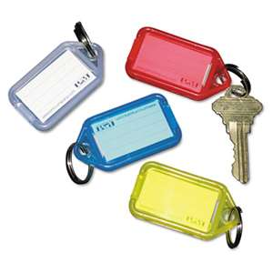 PM COMPANY Extra Color-Coded Key Tags for Key Tag Rack, 1 1/8 x 2 1/4, Assorted, 4/Pack